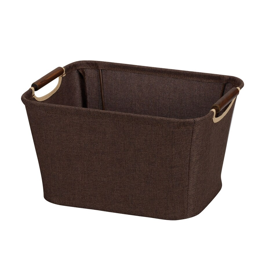 Household Essentials 7.5-in W x 13-in H x 10-in D Coffee Fabric Bin