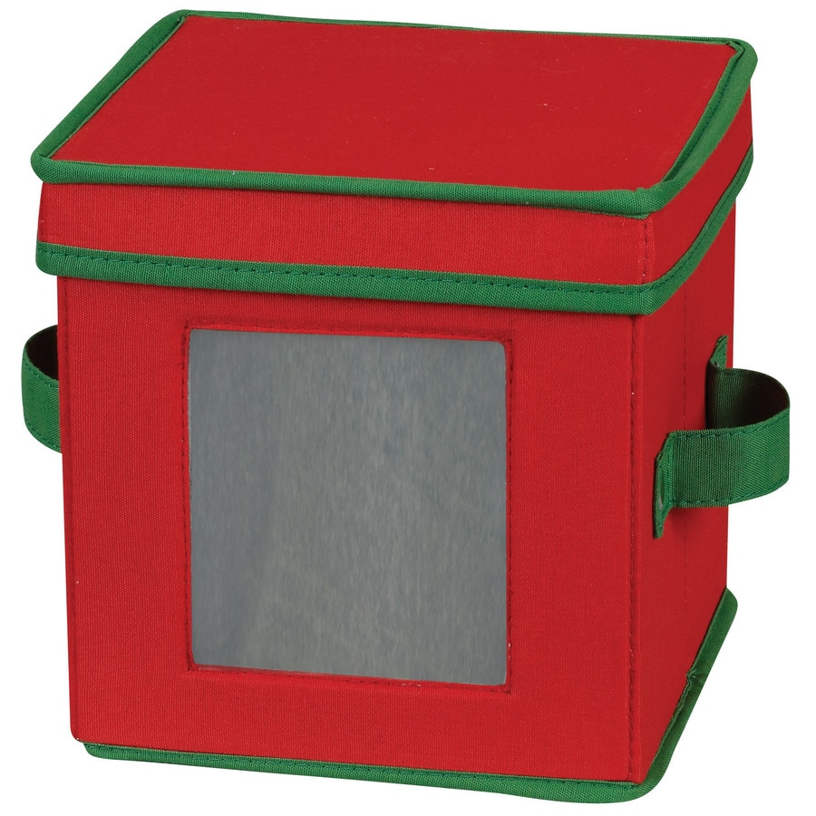 Household Essentials 7.5-in W x 8-in H x 8-in D Red with Green Trim Fabric Bin