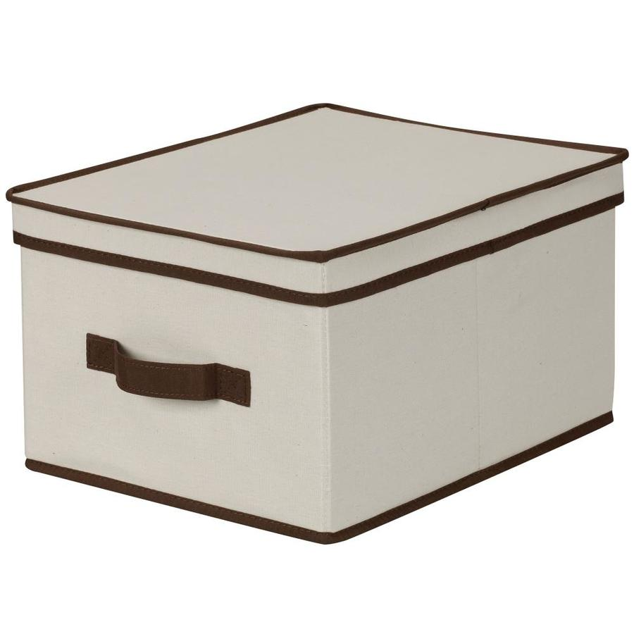 Household Essentials 8-in W x 12-in H x 15-in D Natural with Brown Trim Fabric Bin