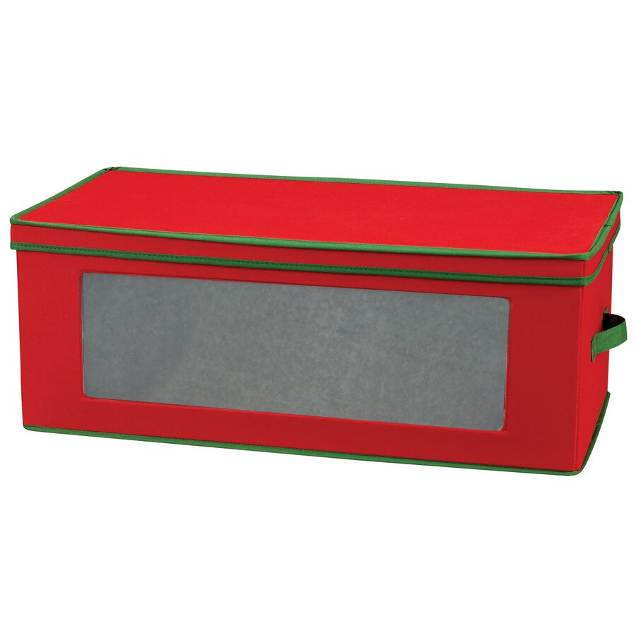 Household Essentials 10-in W x 27-in H x 13.5-in D Red with Green Trim Fabric Bin