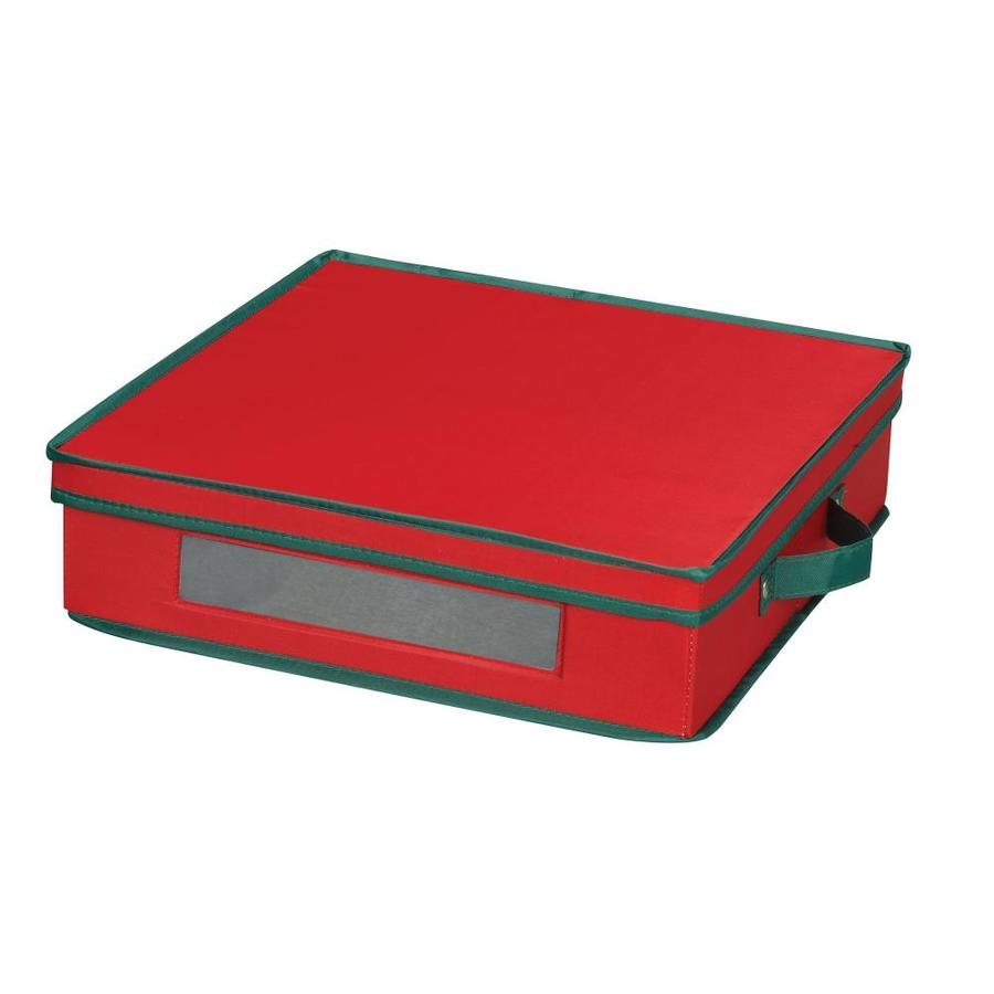 Household Essentials 4-in W x 14.5-in H x 14.5-in D Red with Green Trim Fabric Bin