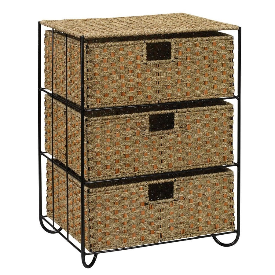 Household Essentials 17.25-in x 23.5-in 3-Drawer Natural Wicker Drawer