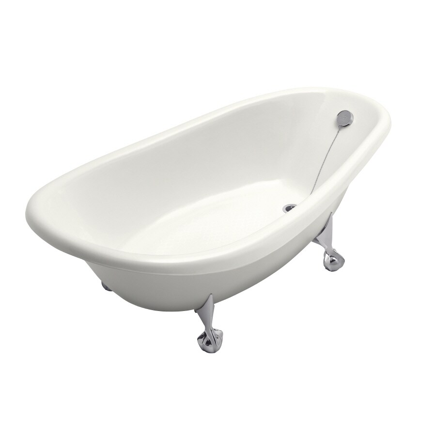 KOHLER Birthday Bath White Cast Iron Oval Clawfoot Bathtub with Reversible Drain (Common: 38-in x 72-in; Actual: 27-in x 37.5-in x 72-in)