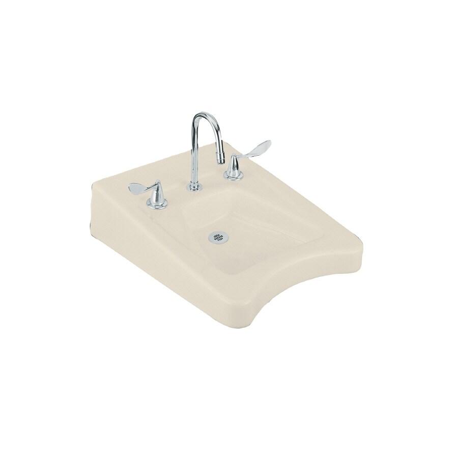 KOHLER Morningside Almond Wall-Mount Rectangular Bathroom Sink with Overflow