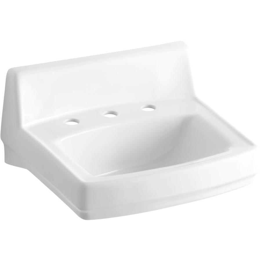 KOHLER Greenwich White Wall-Mount Rectangular Bathroom Sink with Overflow
