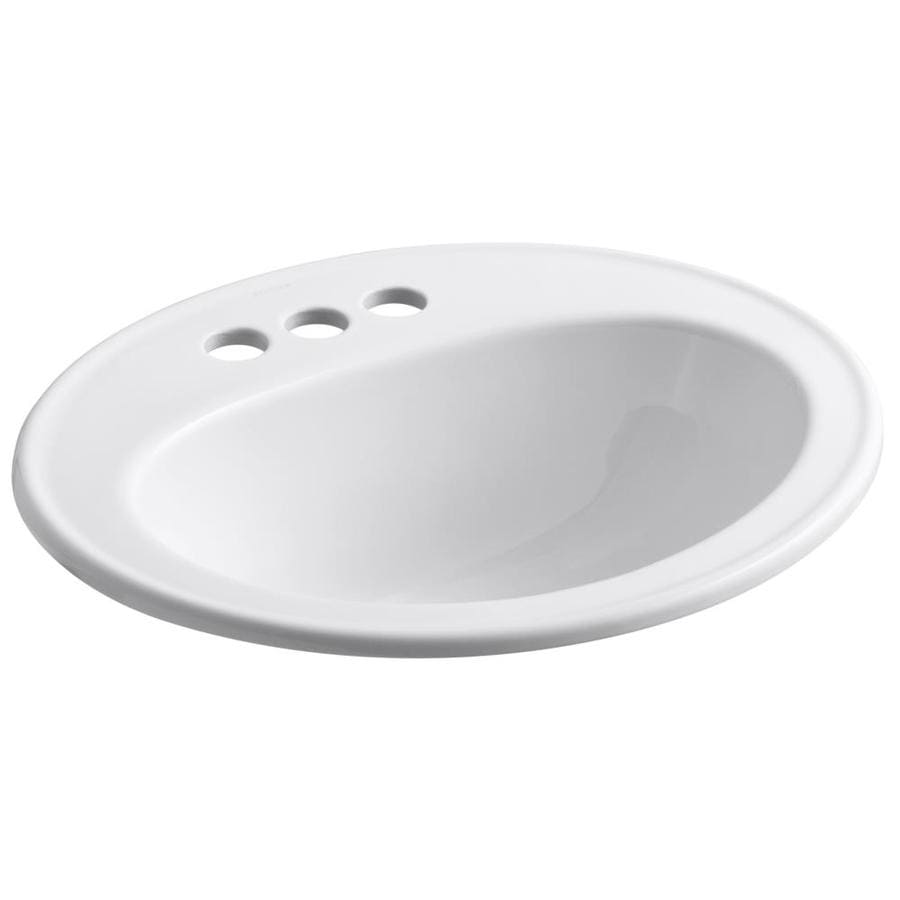 KOHLER Pennington White Drop-in Oval Bathroom Sink with Overflow