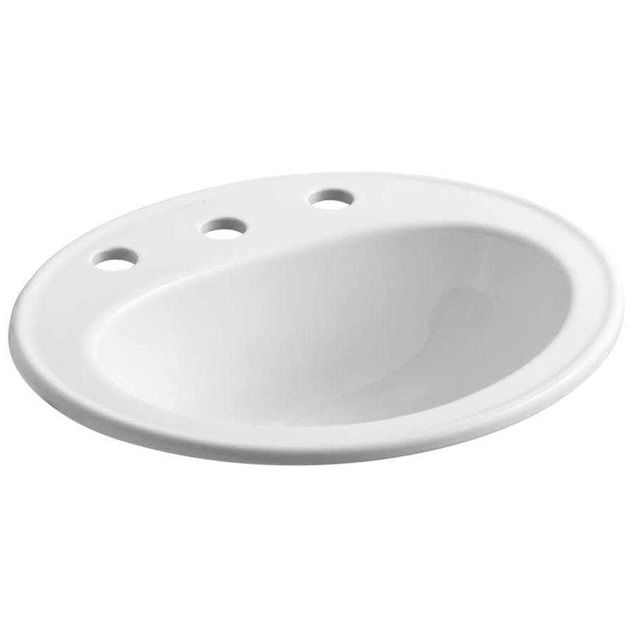 shop kohler pennington white drop in oval bathroom sink
