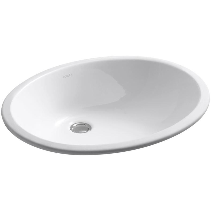 KOHLER Caxton White Undermount Oval Bathroom Sink with Overflow