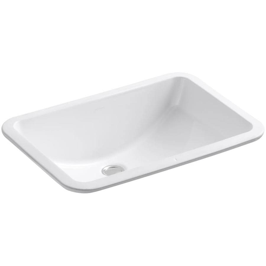 Ladena White Undermount Rectangular Bathroom Sink with Overflow Product Photo