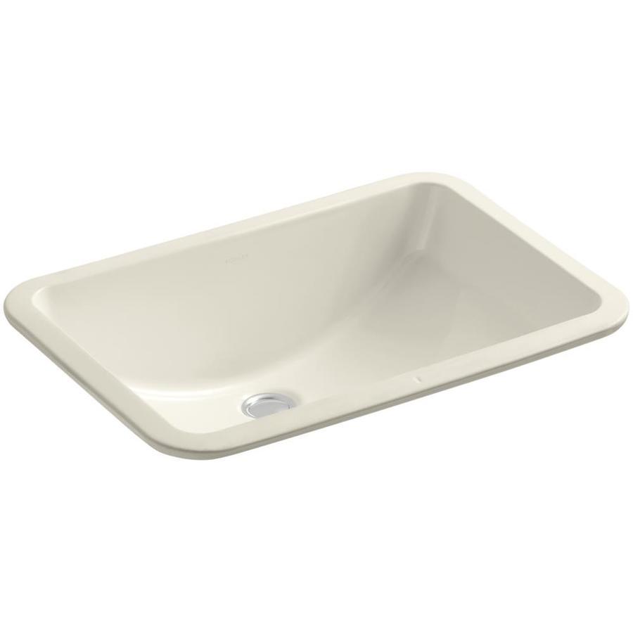 shop kohler ladena almond undermount rectangular bathroom sink with