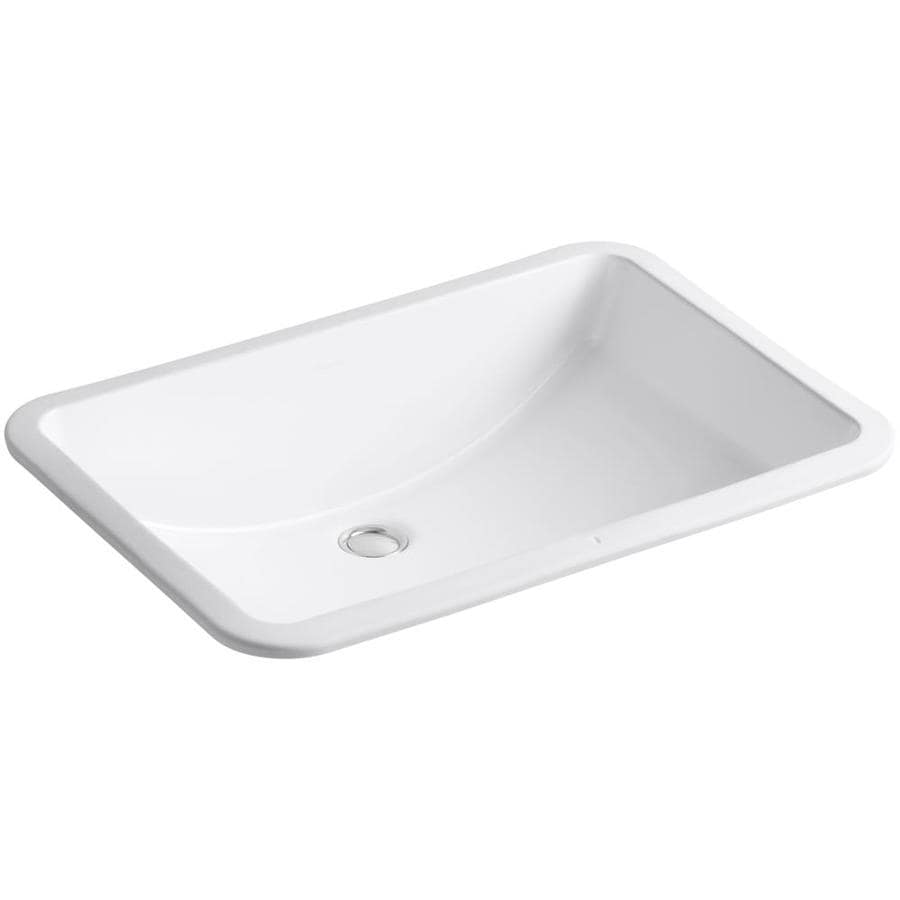 White Undermount Sink : KOHLER Ladena White Undermount Rectangular Bathroom Sink with Overflow