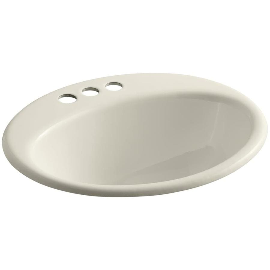 KOHLER Farmington Almond Cast Iron Drop-in Oval Bathroom Sink with Overflow
