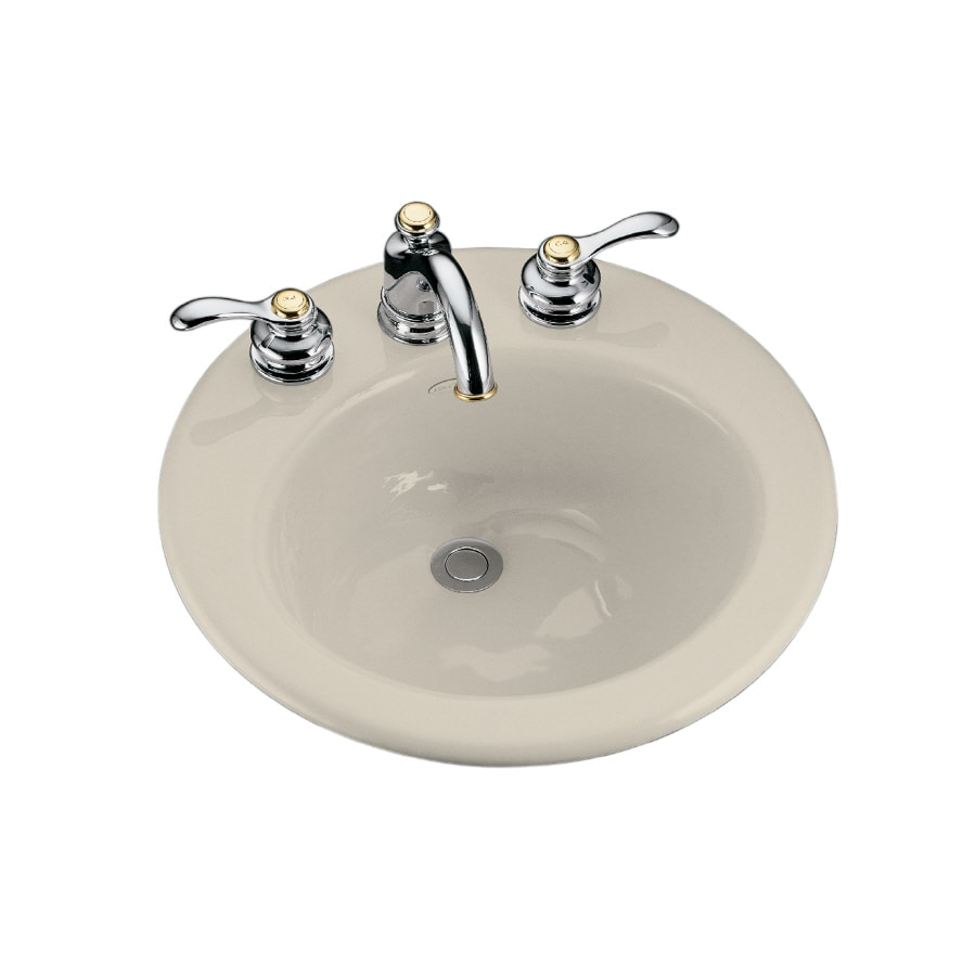 KOHLER Radiant Almond Cast Iron Drop-in Round Bathroom Sink with Overflow