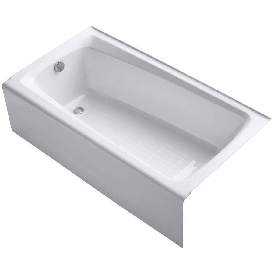 KOHLER Mendota White Cast Iron Rectangular Skirted Bathtub with Left-Hand Drain (Common: 32-in x 60-in; Actual: 16.25-in x 32-in x 60-in)