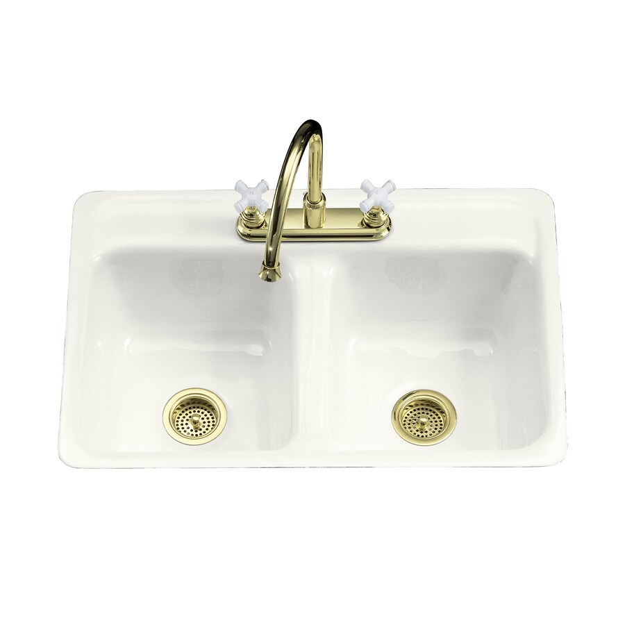... White Double-Basin Cast Iron Tile-in 4-Hole Residential Kitchen Sink