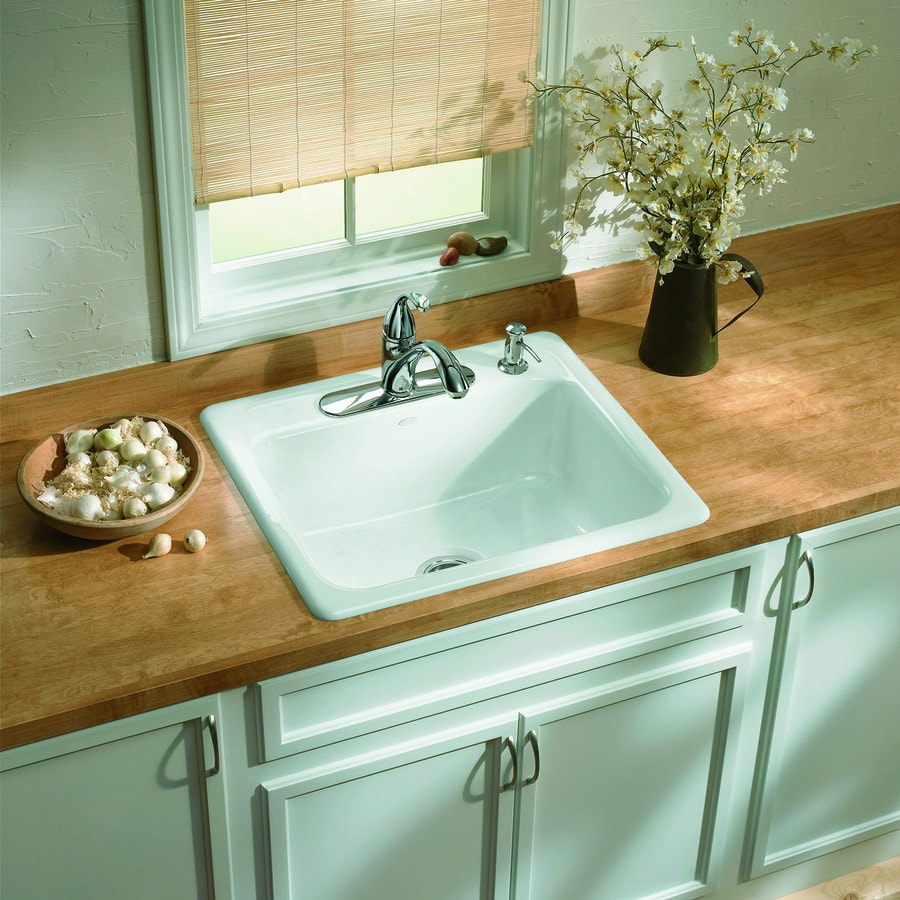 Kohler Single Basin Kitchen Sink : ... White Single-Basin Cast Iron Drop-in 4-Hole Residential Kitchen Sink