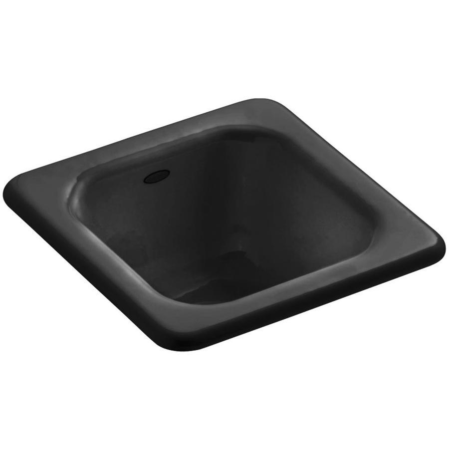 KOHLER Addison Black Black Single-Basin Cast Iron Drop-in Commercial Bar Sink