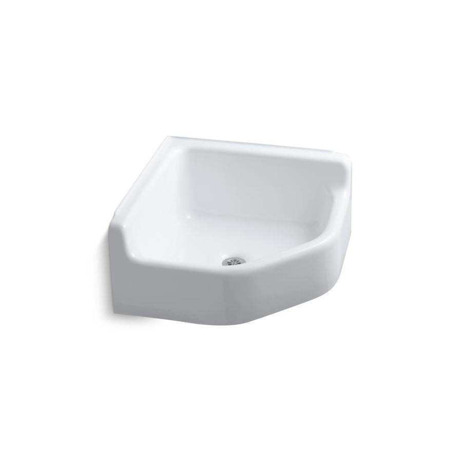 KOHLER 23-in x 23-in White Freestanding Cast Iron Laundry Utility Sink
