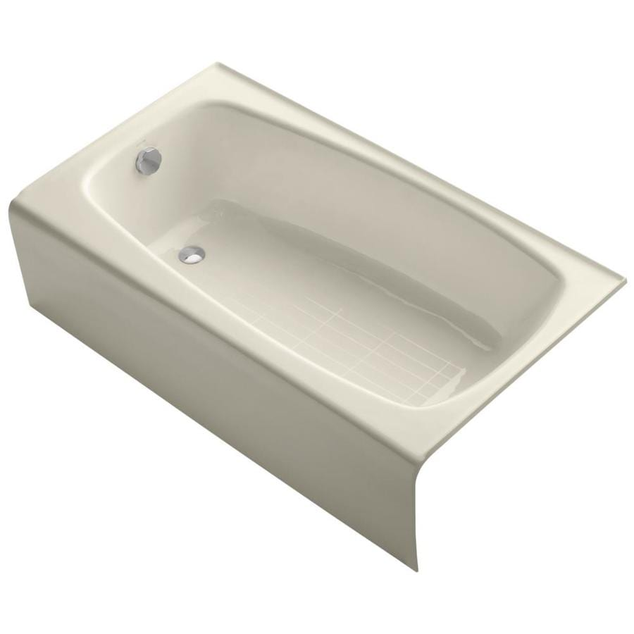 KOHLER Seaforth Almond Cast Iron Rectangular Skirted Bathtub with Left-Hand Drain (Common: 31-in x 54-in; Actual: 14-in x 30.25-in x 54-in)