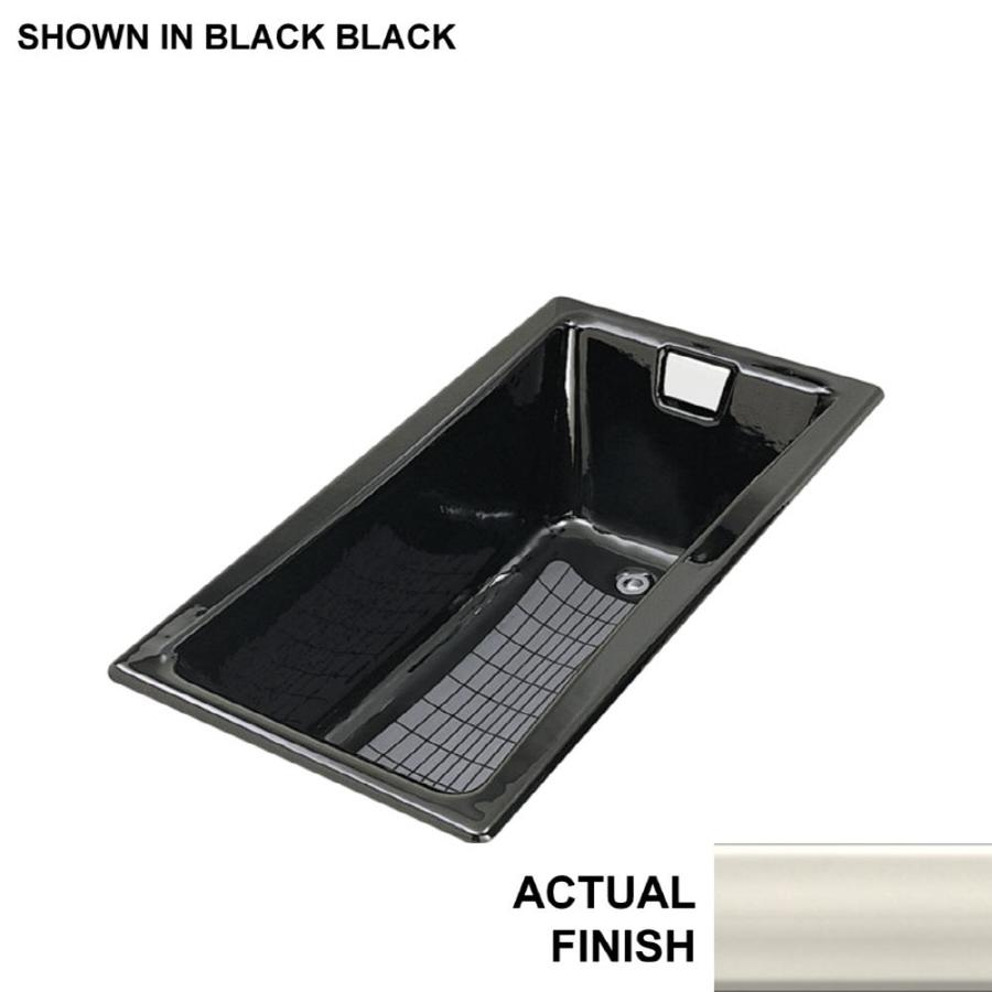 KOHLER Tea-For-Two Almond Cast Iron Rectangular Drop-in Bathtub with Reversible Drain (Common: 32-in x 60-in; Actual: 18.25-in x 32-in x 60-in)