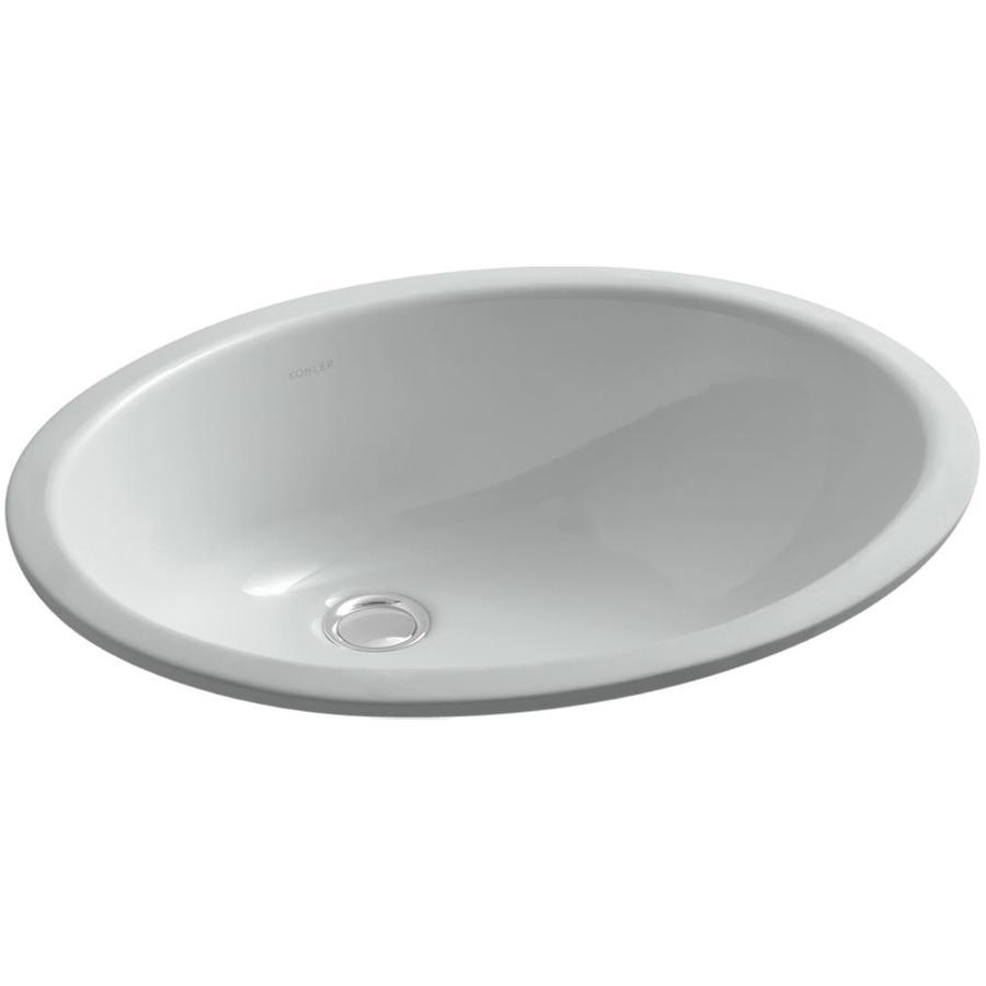 KOHLER Caxton Ice Grey Undermount Oval Bathroom Sink with Overflow