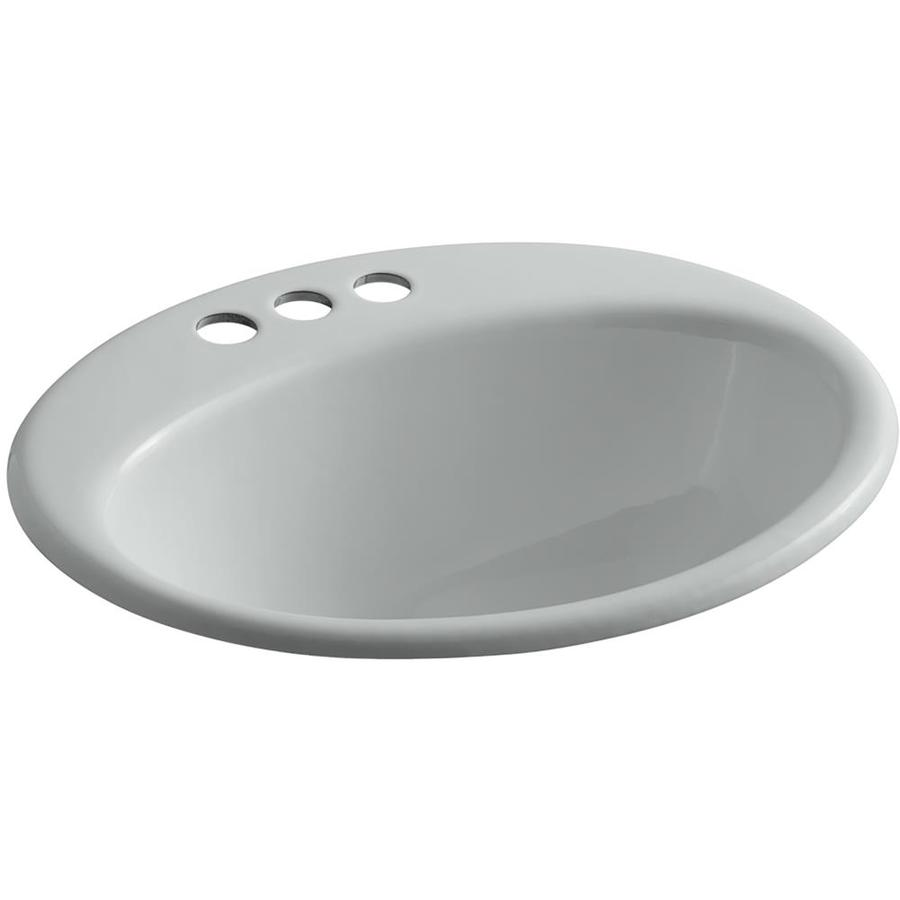 KOHLER Farmington Ice Grey Cast Iron Drop-in Oval Bathroom Sink with Overflow
