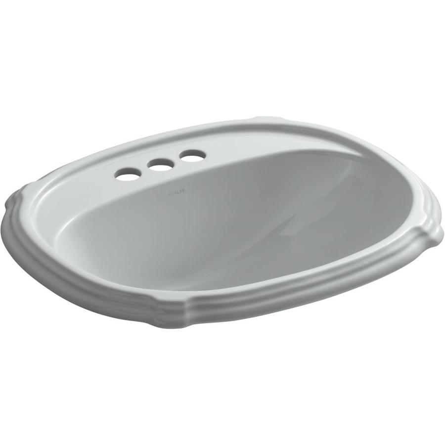 KOHLER Portrait Ice Grey Drop-in Oval Bathroom Sink with Overflow
