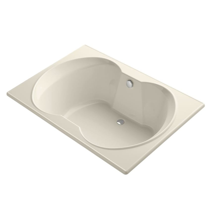 KOHLER Overture Almond Acrylic Hourglass In Rectangle Drop-in Bathtub with Center Drain (Common: 42-in x 60-in; Actual: 20-in x 42-in x 60-in)