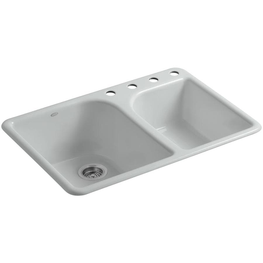 KOHLER Executive Chef 22-in x 33-in Ice Grey Double-Basin Cast Iron Drop-in 4-Hole Residential Kitchen Sink