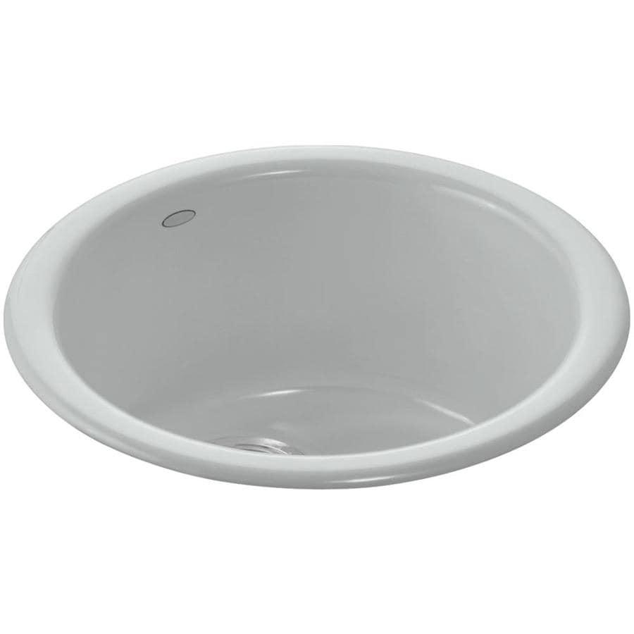 KOHLER Porto Fino Ice Grey Single-Basin 1-Hole Cast Iron Drop-in Commercial Bar Sink
