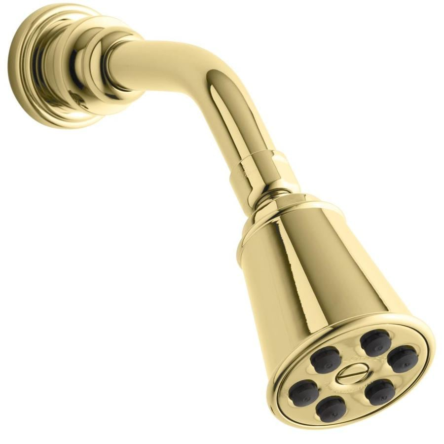 KOHLER IV Georges 2.78-in 2.5-GPM (9.5-LPM) Vibrant Polished Brass Showerhead