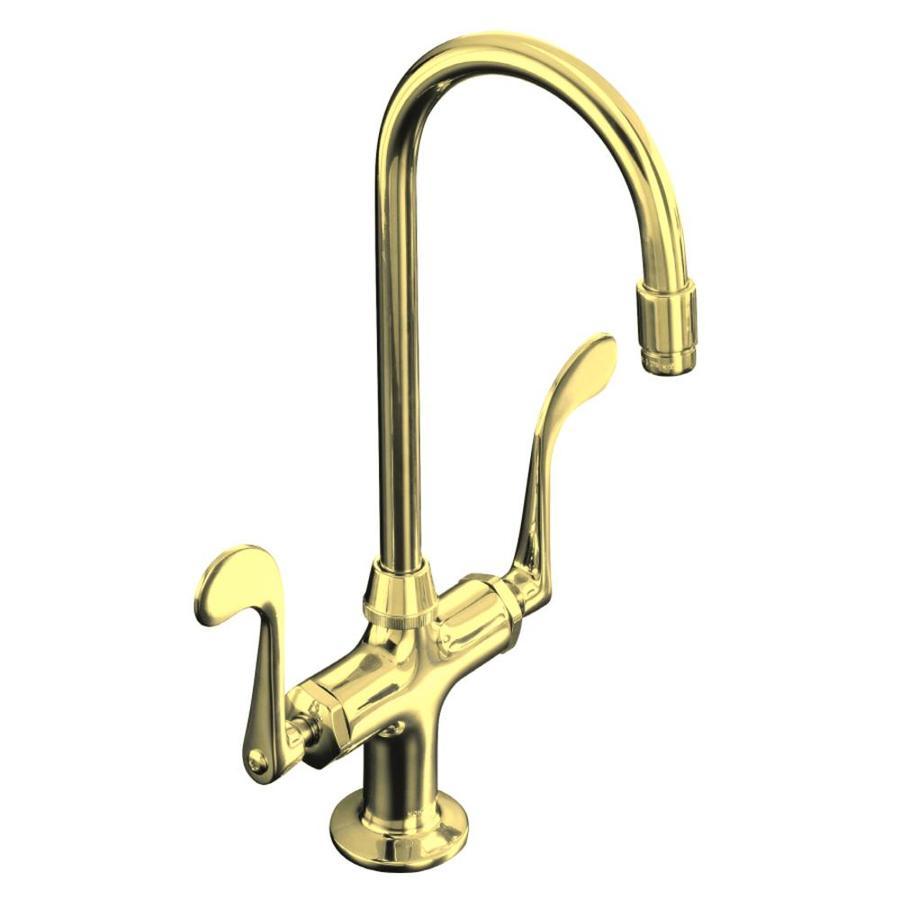 KOHLER Essex Vibrant Polished Brass 2-Handle High-Arc Kitchen Faucet