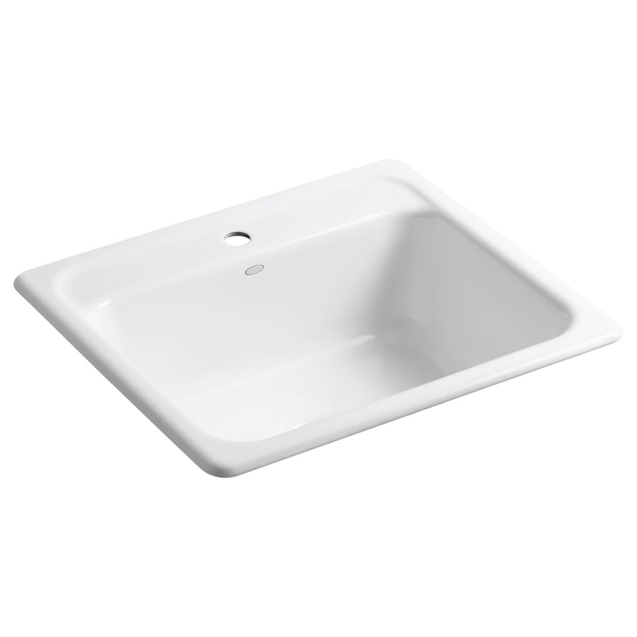 basin cast iron drop in 1 hole residential kitchen sink at