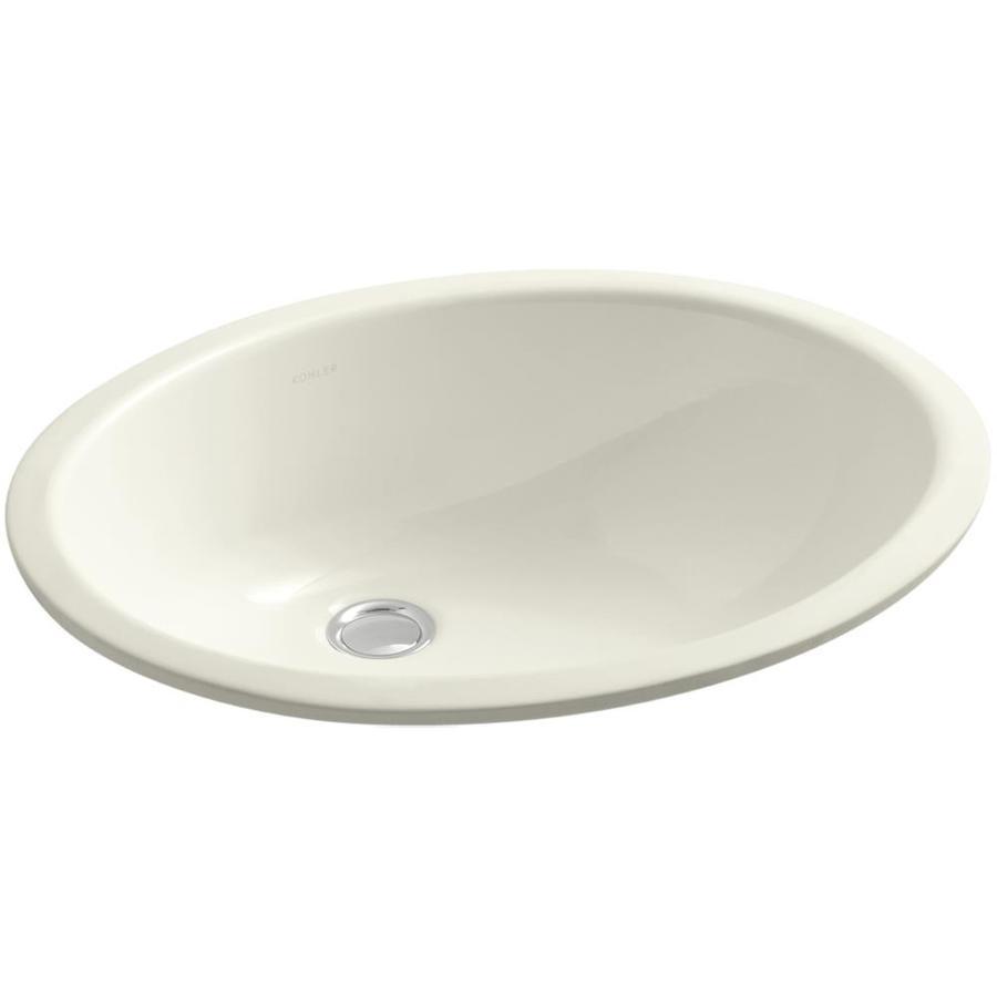 KOHLER Caxton Biscuit Undermount Oval Bathroom Sink with Overflow
