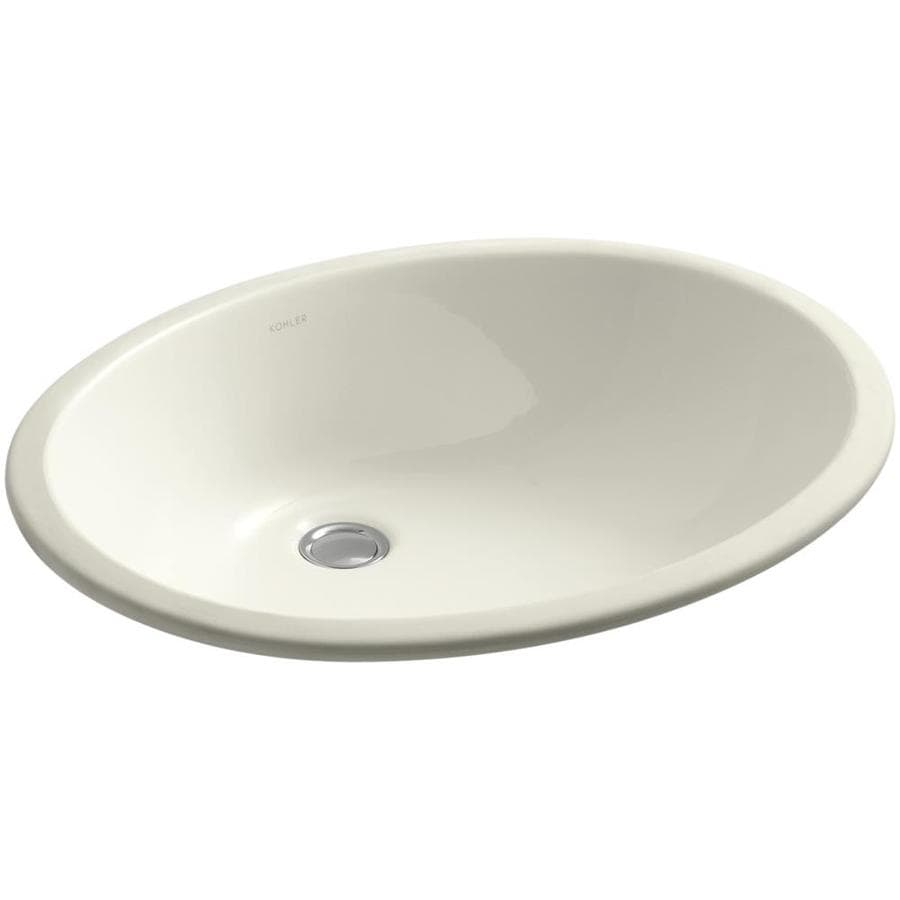 KOHLER Caxton Biscuit Undermount Oval Bathroom Sink with Overflow