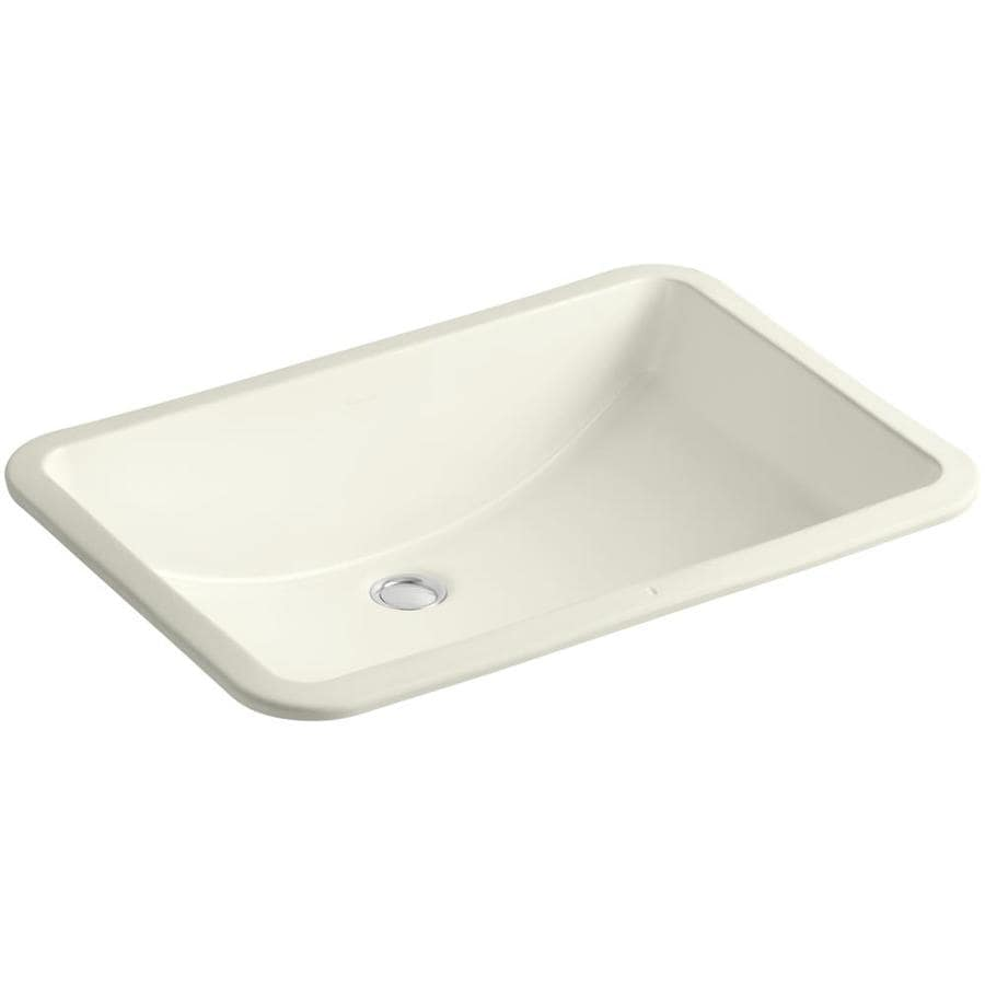 Shop kohler ladena biscuit undermount rectangular bathroom for Bathroom undermount sinks