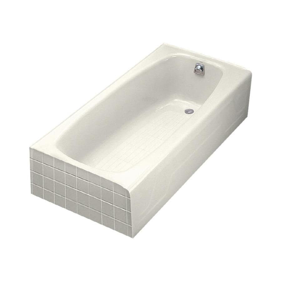KOHLER Dynametric Biscuit Cast Iron Rectangular Skirted Bathtub with Right-Hand Drain (Common: 32-in x 60-in; Actual: 16.25-in x 32-in x 60-in)