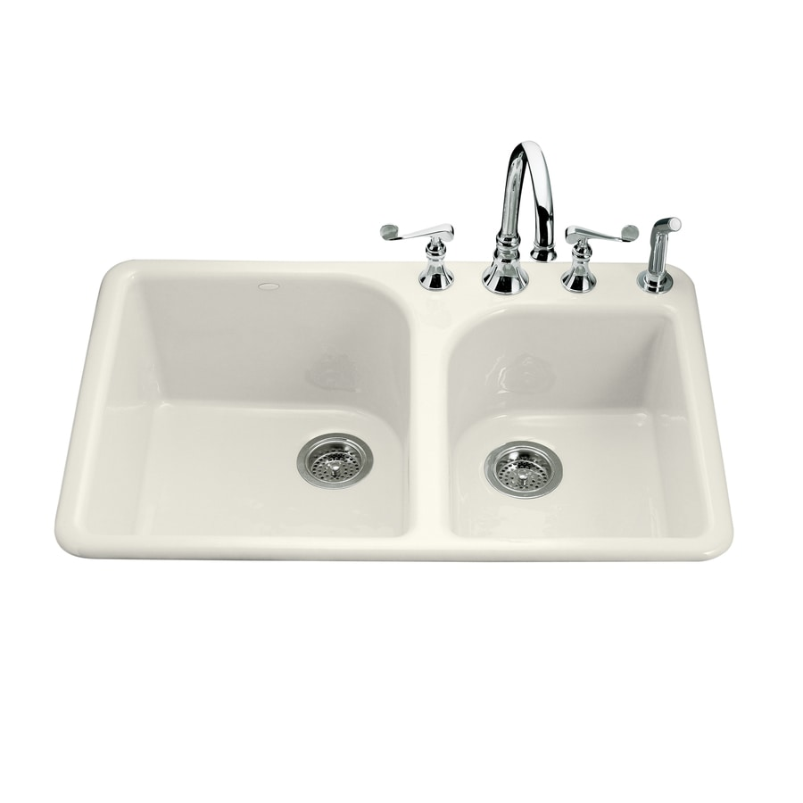 KOHLER Executive Chef 22-in x 33-in Almond Double-Basin Cast Iron Drop-in 4-Hole Residential Kitchen Sink