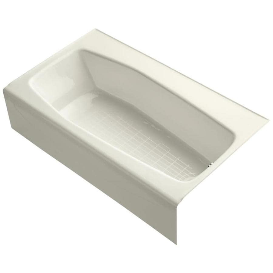 KOHLER Villager Biscuit Cast Iron Hourglass In Rectangle Alcove Bathtub with Right-Hand Drain (Common: 34-in x 60-in; Actual: 14-in x 34.25-in x 60-in)