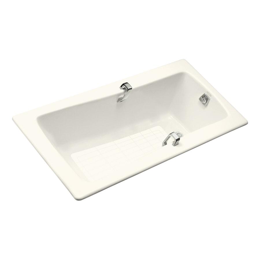 KOHLER Maestro Biscuit Cast Iron Rectangular Drop-in Bathtub with Reversible Drain (Common: 32-in x 66-in; Actual: 18.25-in x 32-in x 66-in)