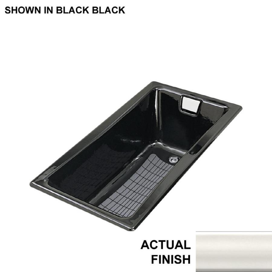 KOHLER Tea-For-Two Biscuit Cast Iron Rectangular Drop-in Bathtub with Reversible Drain (Common: 32-in x 60-in; Actual: 18.25-in x 32-in x 60-in)