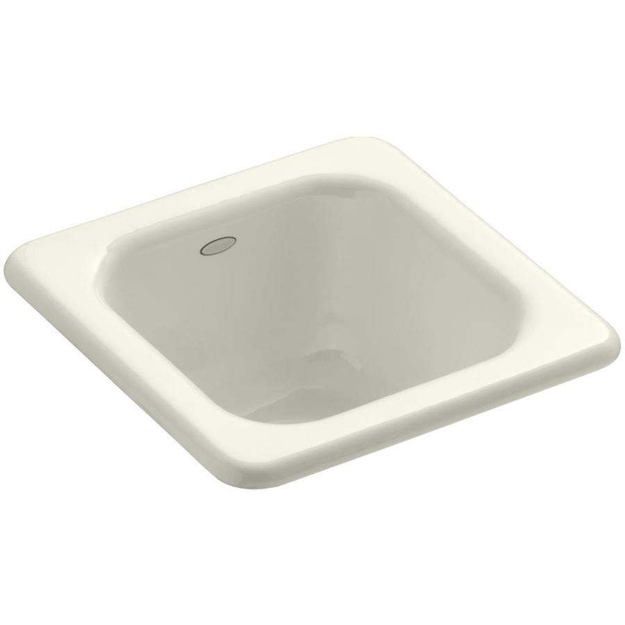 KOHLER Addison Biscuit Single-Basin 1-Hole Cast Iron Drop-in Commercial Bar Sink