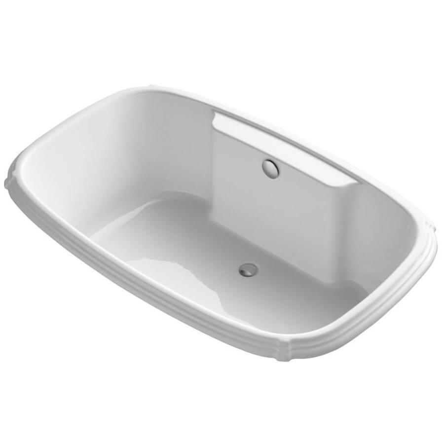 KOHLER Portrait White Acrylic Rectangular Drop-in Bathtub with Center Drain (Common: 42-in x 67-in; Actual: 22-in x 42-in x 67-in)