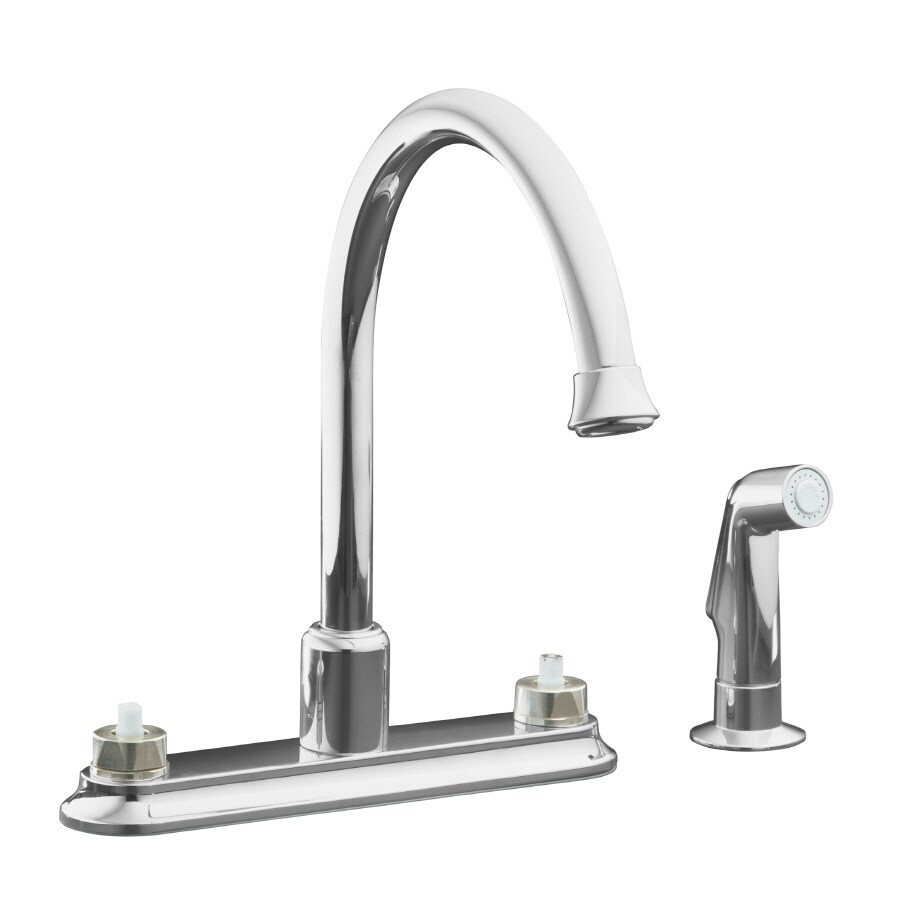 KOHLER Coralais Polished Chrome 2-Handle High-Arc Kitchen Faucet with Side Spray