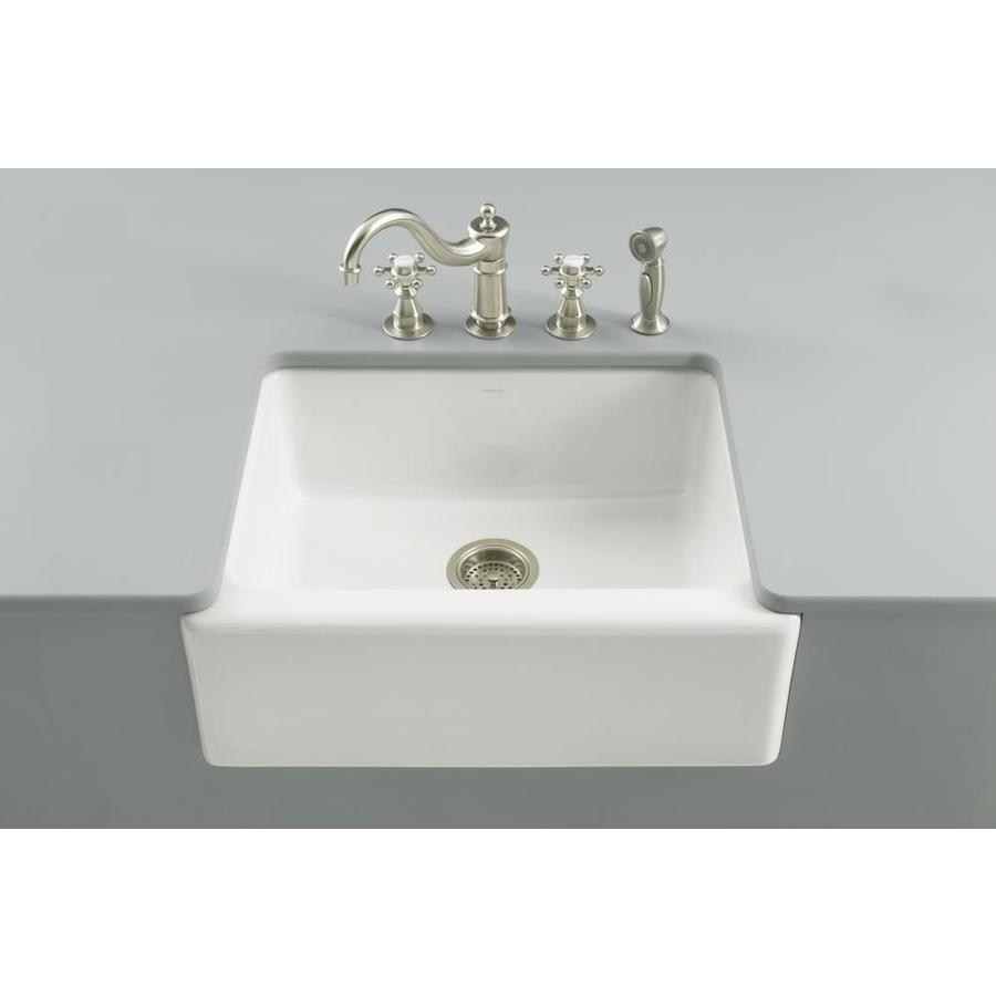 KOHLER Alcott 22-in x 25-in White Single-Basin Fireclay Apron Front/Farmhouse Residential Kitchen Sink