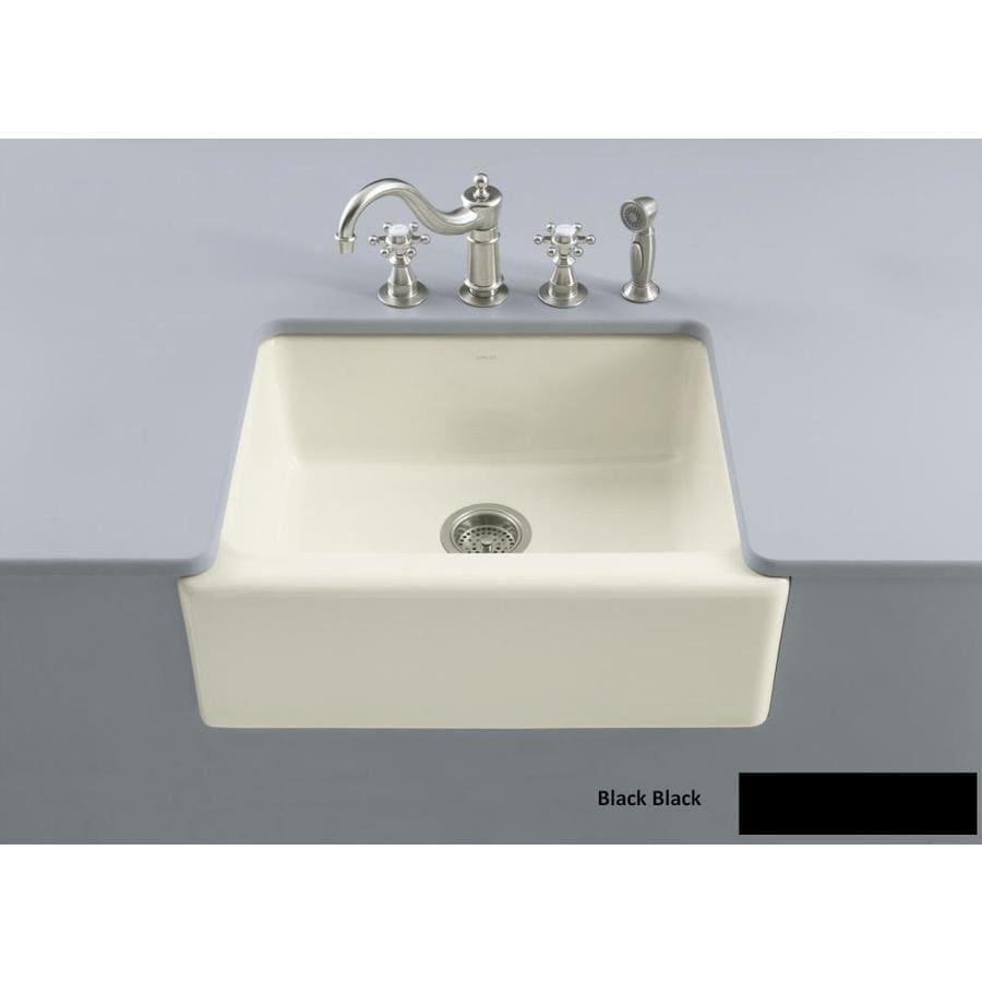KOHLER Alcott 22-in x 25-in Black Black Single-Basin Fireclay Apron Front/Farmhouse Residential Kitchen Sink