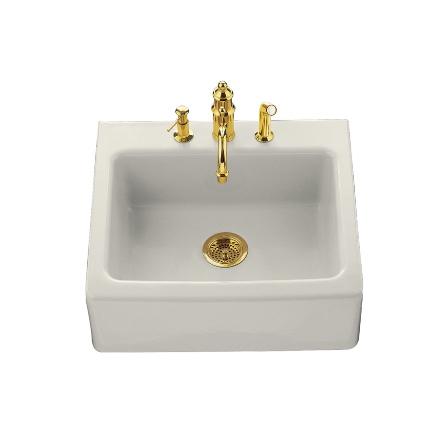 KOHLER Alcott 22-in x 25-in Biscuit Single-Basin Fireclay Tile-in 4-Hole Residential Kitchen Sink