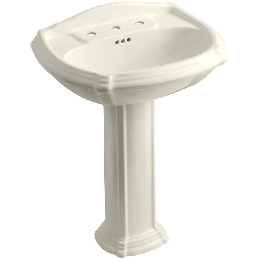 KOHLER Portrait 36.5-in H Almond Vitreous China Pedestal Sink