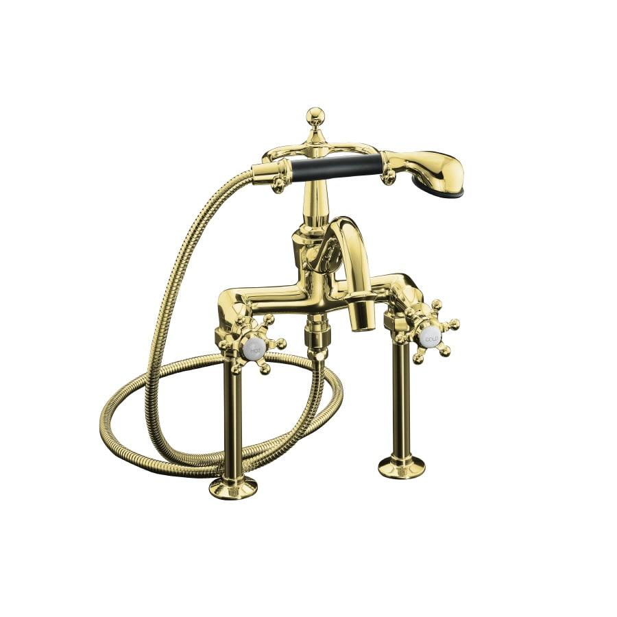 KOHLER Antique Vibrant Polished Brass 2-Handle Fixed Deck Mount Bathtub Faucet