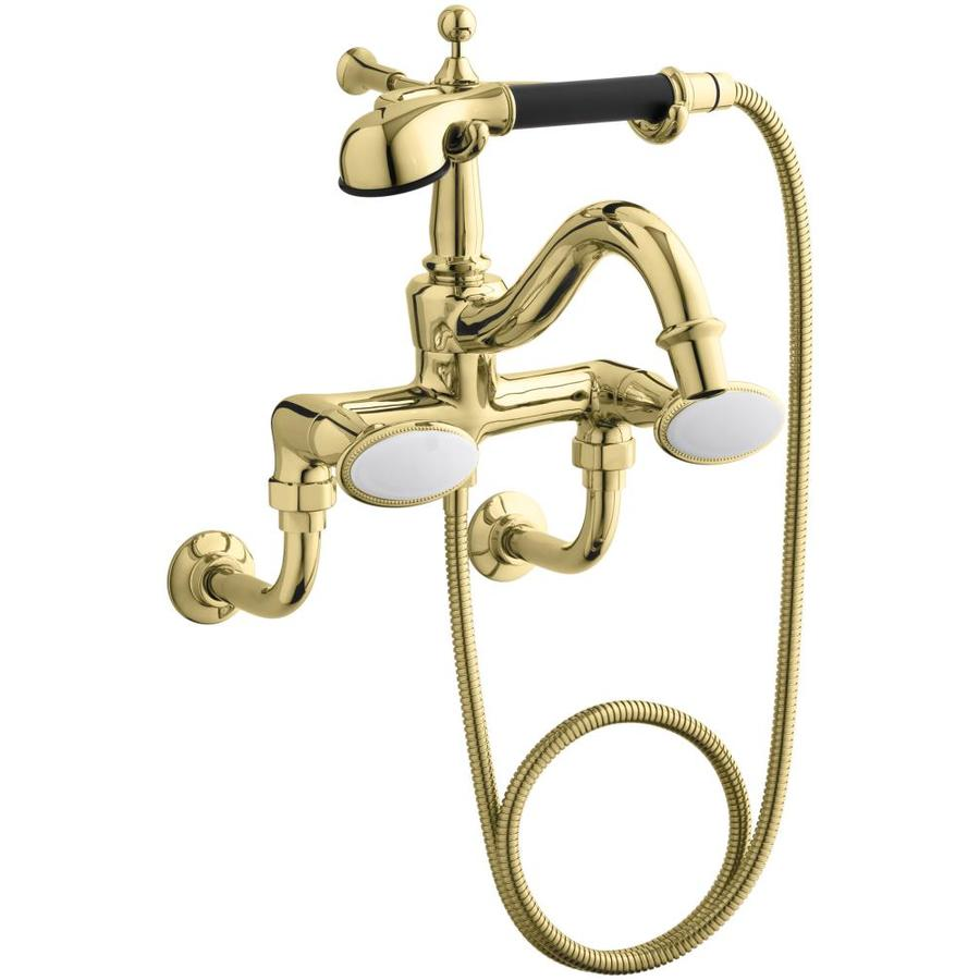 KOHLER Antique Vibrant Polished Brass 2-Handle Bathtub and Shower Faucet with Single Function Showerhead